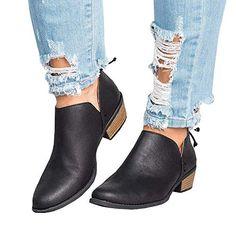 5ca668fe2644 Bottine Femmes Plates Boots Femme Cheville Basse Cuir Bottes Talon Chelsea  Chic Compensé Grande Taille Chaussures