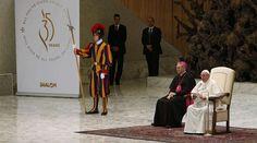 El Papa Francisco durante la audiencia. Foto: Daniel Ibáñez / Foto: ACI Prensa
