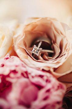 Rose gold square diamond engagement ring