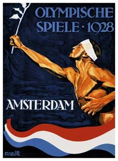AMSTERDAM 1928 OLYMPIC SUMMER GAMES Official Poster Reprint - Games of the IX Olympiad ~ Available at www.sportsposterwarehouse.com