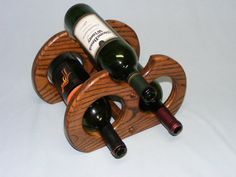 Three Wine Bottle Dark Oak Wine Rack. Free Shipping