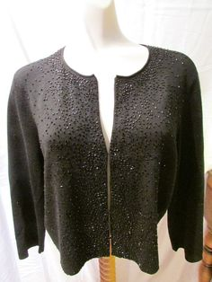 EILEEN FISHER Black Merino Wool Formal Beaded Cardigan Sweater Size Medium EUC! #EileenFisher #Cardigan