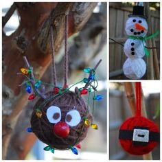 Styrofoam balls and yarn