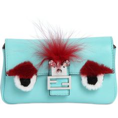 Fendi Women Micro Baguette Monster Leather Bag ($1,425) ❤ liked on Polyvore featuring bags, handbags, shoulder bags, turquoise, genuine leather handbags, blue purse, leather shoulder handbags, real leather handbags and genuine leather purse