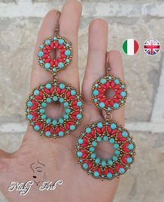 Tutorial Orecchini Tibet - schema orecchini con rulla, supeduo, perle e rocailles - Pdf - earrings beading pattern