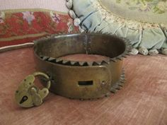 RARE Large Antique 18th Century Brass Spiked Dog Collar With Padlock Stunning Collector Piece