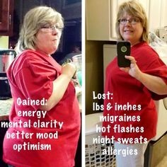GAINED: Energy, mental clarity, better mood and optimism. LOST: Pounds and inches, migraines, hot flashes, night sweats and allergies.