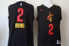 Cleveland Cavaliers #2 Kyrie Irving 2015 Black With Red Fashion Jersey