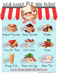 ESL, ordering food, ESL food vocabulary