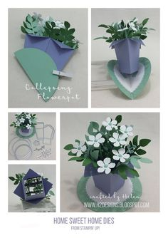 H2 Designs | 3D Collapsing Flowerpot with Home Sweet Home dies for #GDP071 & Color INKspiration #02