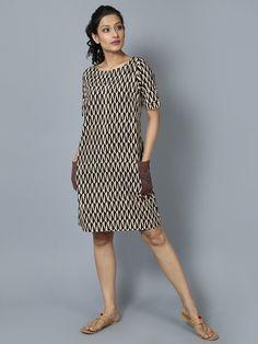 Black White Cotton Shift Dress