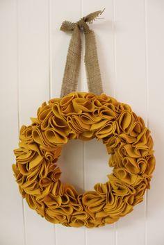 mustard yellow and burlap wreath...SO FALL! LOVE IT!