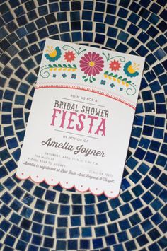 These fun and festive invitations set the mood for a fiesta shower or party. Invitations include a one of a kind floral print with your choice of