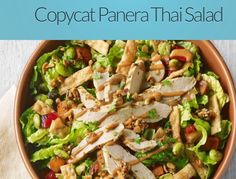 Have to try this! http://www.dailyhiit.com/hiit-blog/hiit-diet/healthy-recipes/copycat-panera-thai-salad/