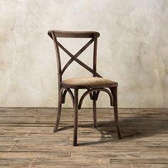 Kensington Dining Side Chair in BARNWOOD BROWN with Woven Seat | Arhaus Furniture