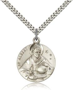 Unknown Sterling Silver Saint Albert the Great Pendant Medal, 1 Inch
