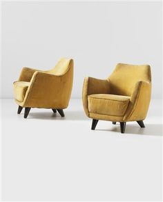 GIO PONTI Pair of rare armchairs, designed for the First Class Ballroom of the 'Augustus' transatlantic ocean liner