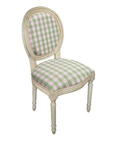 Loving this Green Plaid Upholstered Side Chair - Set of Two on #zulily! #zulilyfinds