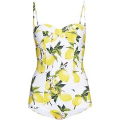 Dolce & Gabbana Lemon-print balconette swimsuit ($444) ❤ liked on Polyvore featuring swimwear, one-piece swimsuits, swimsuit swimwear, balconette bra, bathing suit swimwear, slimming swimsuits i balcony bra