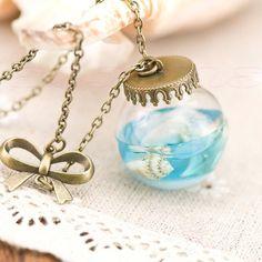 Mermaid Tears Shells Star Glass Bottle Necklace