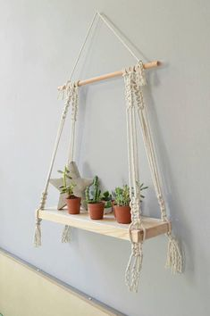 ein Macrame-Regal Macrame-Wandbehang moderner Macrame schwebendes Regal Wandrega… a macrame shelf Macrame wall hanging modern macrame floating shelf wooden wall shelf wood shelf bohemian shelf boho decor Wall Hanging Shelves, Wooden Wall Shelves, Shelf Wall, Wood Shelf, Wall Hangings, Wall Wood, Diy Casa, Modern Shelving, Macrame Plant Hangers