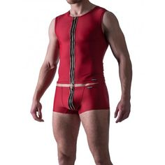 Manstore Zipped Vest M524 Underwear Red (T3874) Famous Brands, Clubwear, Party Wear, Wetsuit, Underwear, Vest, Mens Fashion, Zip, Tank Tops