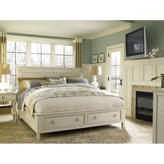 Universal Furniture Summer Hill Storage Bed in Cotton - 9872X0SB