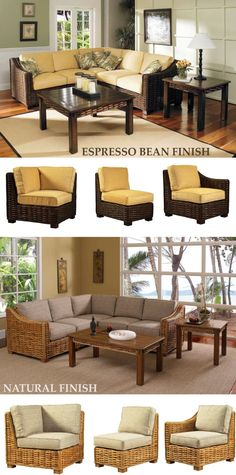 Low profile Freeport sectional collection for large or small seating spaces in Espresso Bean or natural finish. Rattan Furniture Set, Sectional Furniture, Furniture Sets, Paper Weaving, Espresso, Dining Bench, Beach House, Profile, Spaces