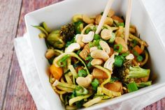 Cashew Chicken with Zucchini Noodles