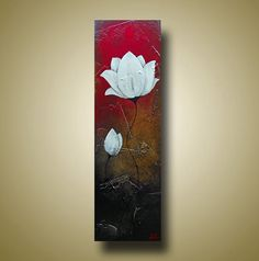 Abstract Red Brown White Flower Painting Original Art with Texture Lotus Flower 9x30 by Britt Hallowell