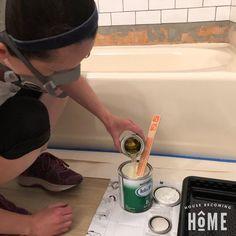 How to Paint a Bathtub Tub Paint, Painting Bathtub, Bathroom Sink Design, Bathroom Ideas, Bath Ideas, Concrete Bathroom, Bathroom Designs, Bathroom Renovations, Bathroom Faucets