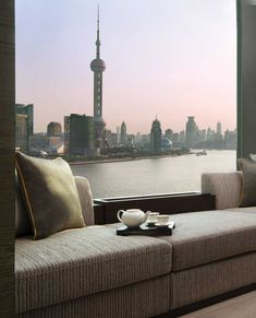 The view from a Panorama room at Banyan Tree Shanghai on the Bund