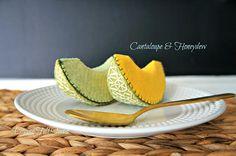 NEW Wool Felt Play Food Slice of cantaloupe & honeydew