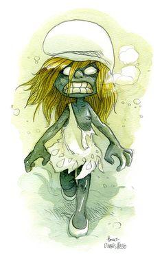 """""""Schtroumpfette Zombie"""" / Zombie Smurfette"""" - Blog"""