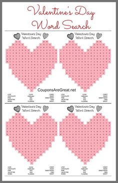 Fun heart shaped Valentine's Day word search.  You can print one or four per page! #valentines #vday #wordsearch