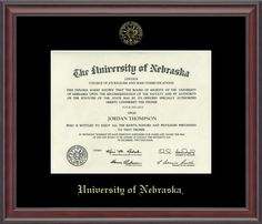 University of Nebraska - Gold Embossed Diploma Frame in Studio with Black Mat with Reflection Control Glass