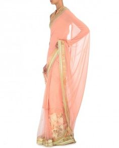 Pink Mughal Resham saree with Embroidered Blouse