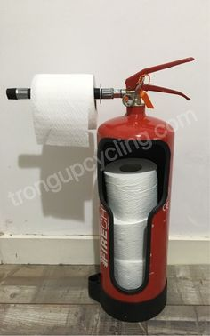 Repurposed fire extinguisher toilet roll holder - #extinguisher #fire #Holder #Repurposed #Roll #toilet #toilets