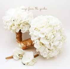 White Silk Hydrangea Bridal & Bridesmaid Bouquet Groom's Best Man Boutonniere - Silk Flower Wedding Package