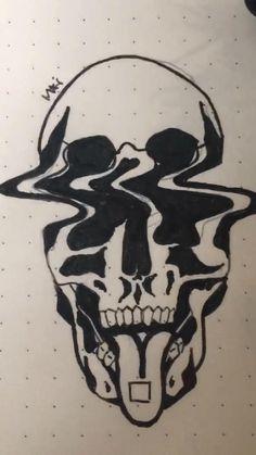 Skeleton Drawing Easy, Easy Skull Drawings, Easy Graffiti Drawings, Skeleton Drawings, Weird Drawings, Trippy Drawings, Dark Drawings, Unique Drawings, Pencil Art Drawings