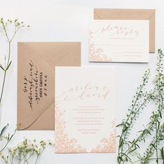 """Brides.com: . """"Drift Away"""" pink-and-white letterpress wedding invitation suite with delicate floral pattern, $748 for 100 invitation suites, Ashley Buzzy Lettering + Press"""