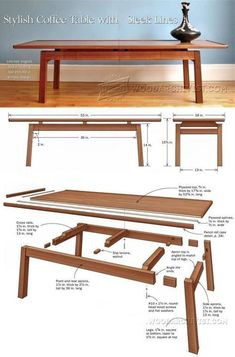 Coffee Table Plans - Furniture Plans and Projects - Woodwork, Woodworking, Woodworking Plans, Woodworking Projects Trendy Furniture, Furniture Projects, Furniture Plans, Furniture Making, Wood Furniture, Furniture Design, Woodworking Projects Diy, Woodworking Furniture, Woodworking Plans
