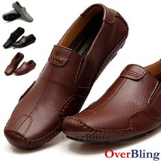 Driving Moccasins Shoes for Mens Loafers Casual Shoes Genuine Leather Slip On Flat Shoes Wedge Shoes