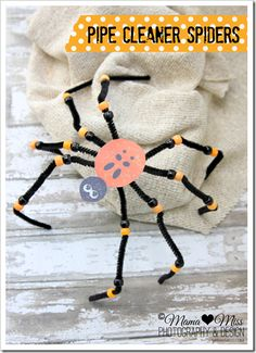 Pipe Cleaner Spiders w/free printable {mama♥miss} ©2012