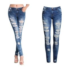 2045 New Hot Fashion Ladies Cotton Denim Pants Stretch Womens Bleach Ripped Skinny Jeans Denim Jeans For Female - Hespirides Gifts - 1 Denim Jeans, Sexy Jeans, Moda Jeans, Womens Ripped Jeans, Trouser Jeans, Ripped Skinny Jeans, Skinny Pants, Ladies Jeans, White Trousers