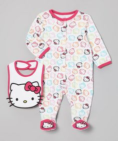 CUTE FOR A BABY DOLL Crafted from soft cotton, this sweet set is the cat's meow! An absorbent bib protects little ones from dinnertime spills, while the playfully printed footie cuddles them in comfort. Whatever their day brings, there's no better friend for a little darling than Hello Kitty.