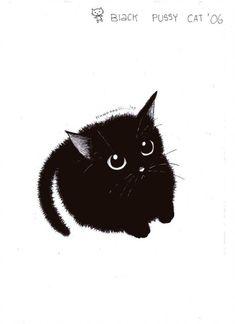 cute black cat by pinkmew