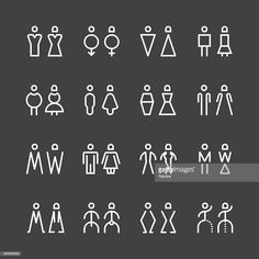 Vector Art : Men & Women Icon - White Line Series Wayfinding Signage, Signage Design, Wc Icon, Wc Logo, Backlit Signs, Plasma Cutter Art, Environmental Graphics, Environmental Design, Elements Of Design