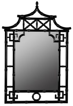 Pagoda Glossy Black Finish Hanging Wall Mirror Asian Inspired Design by Cooper Classics
