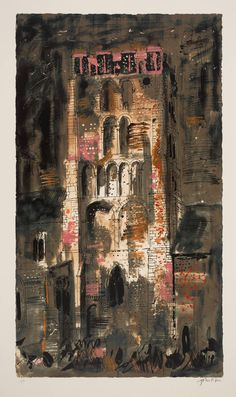 John Piper, South Lopham, Norfolk, screenprint, 914 x 524 mm John Piper Artist, Art Alevel, Architect Drawing, Building Art, Royal College Of Art, A Level Art, Landscape Paintings, Landscapes, Urban Art